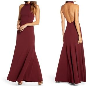 NWT JENNY YOO Petra Halter Crep Gown in Hibiscus